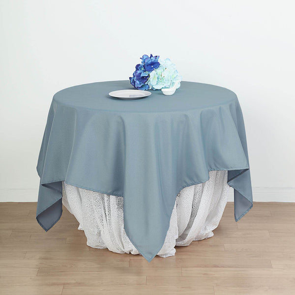 "90"" Dusty Blue Square Polyester Table Overlay"