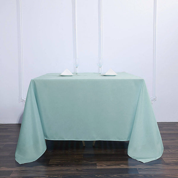 "90"" Dusty Sage Square Polyester Tablecloth"