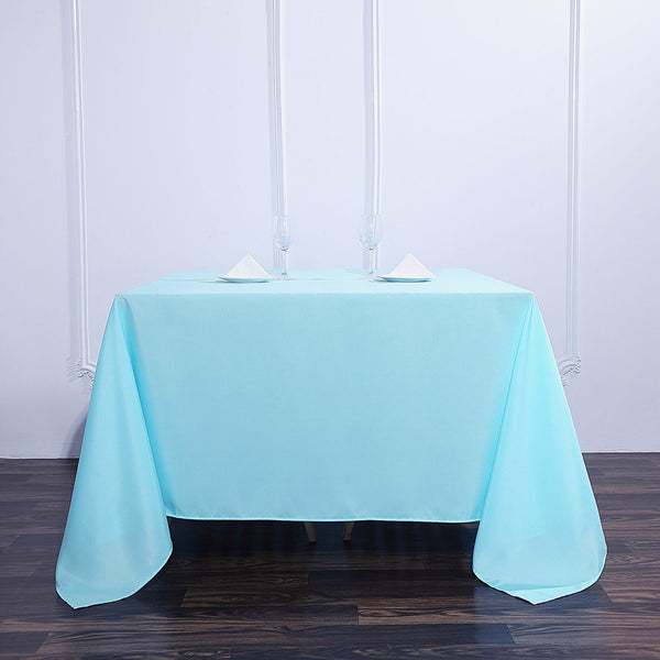 "90"" Blue Square Polyester Tablecloth"