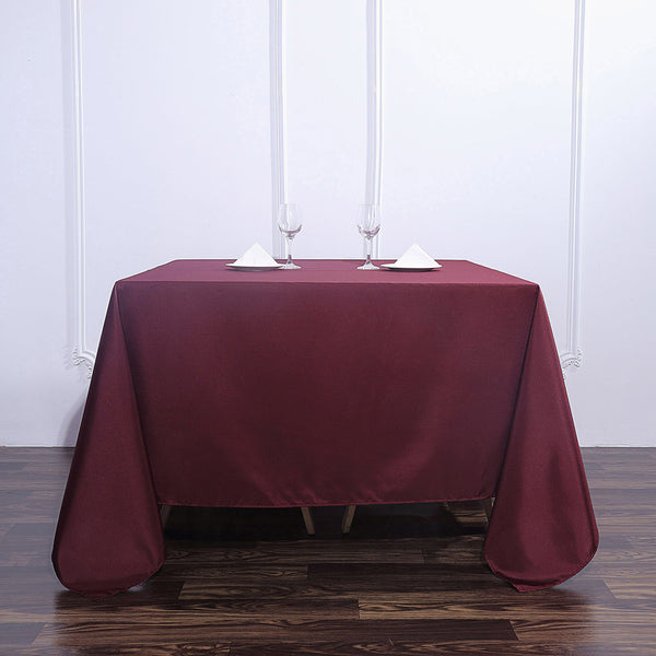 "90"" Burgundy Square Polyester Tablecloth"