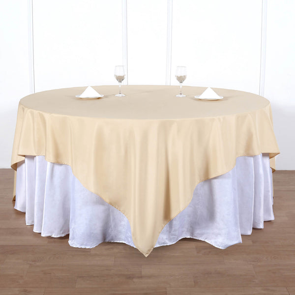 "90"" Champagne Square Polyester Table Overlay"