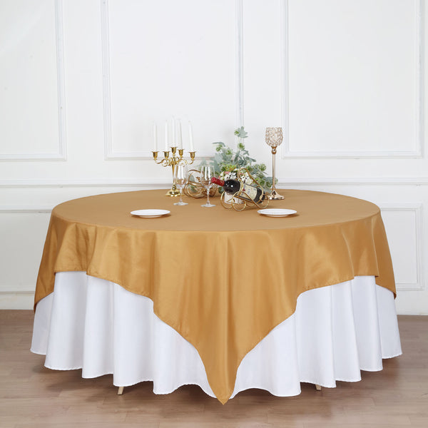 "90"" Gold Square Polyester Table Overlay"