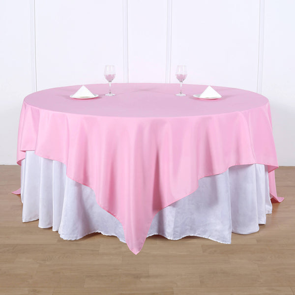"90"" Pink Square Polyester Table Overlay"