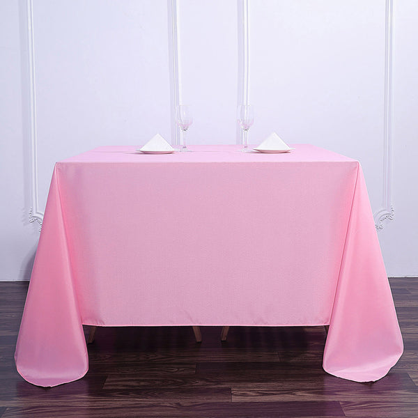 "90"" Pink Square Polyester Tablecloth"