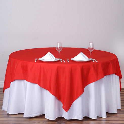 "90"" Red Square Polyester Table Overlay"