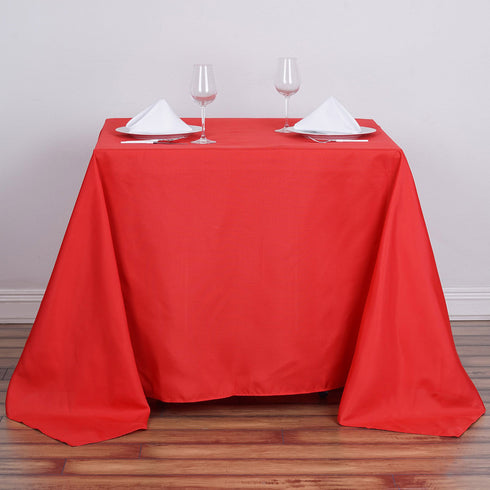 "90"" Red Premium Square Polyester Tablecloth"