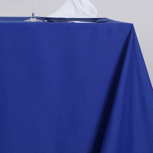 "90"" Royal Blue Square Polyester Table Overlay"