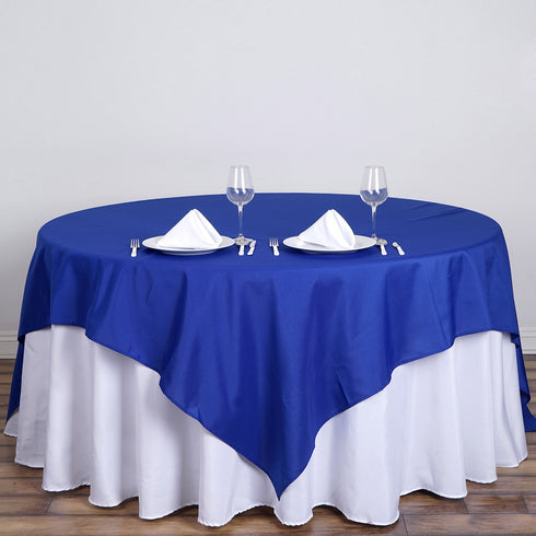 "90"" Royal Blue Premium Square Polyester Table Overlay"