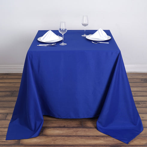 "90"" Royal Blue Premium Square Polyester Tablecloth"