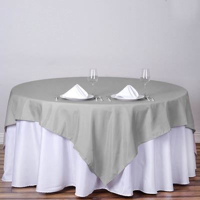 "90"" Silver Premium Square Polyester Tablecloth"