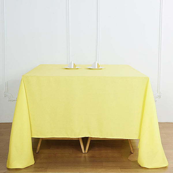 "90"" Yellow Square Polyester Tablecloth"