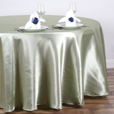 "108"" color- reseda Wholesale SATIN Round Tablecloth For Wedding Banquet Restaurant"