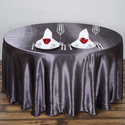 "108"" Satin Round Tablecloth - Charcoal Grey"