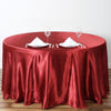 "108"" Wine Satin Round Tablecloth"