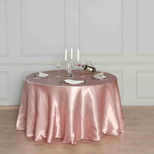 "108"" Dusty Rose Satin Round Tablecloth"
