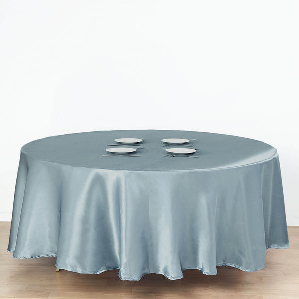 "108"" Dusty Blue Satin Round Tablecloth"