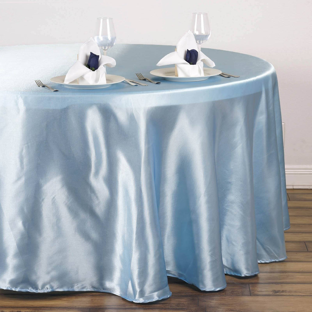 Satin Round Tablecloths Color Serenity Blue