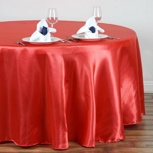 "108"" CORAL Wholesale SATIN Round Tablecloth For Wedding Banquet Restaurant"