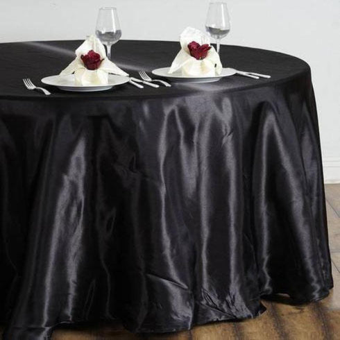 "108"" Satin Round Tablecloth - Black"