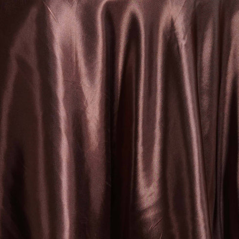 "108"" CHOCOLATE Wholesale SATIN Round Tablecloth For Wedding Banquet Restaurant"