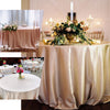 "108"" Gold Satin Round Tablecloth"