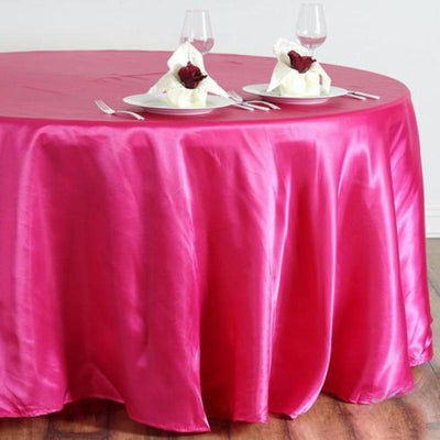 "108"" Satin Round Tablecloth - Fushia"