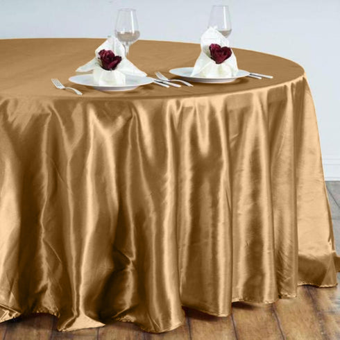 "108"" Satin Round Tablecloth - Gold"