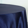 "108"" Navy Blue Satin Round Tablecloth"