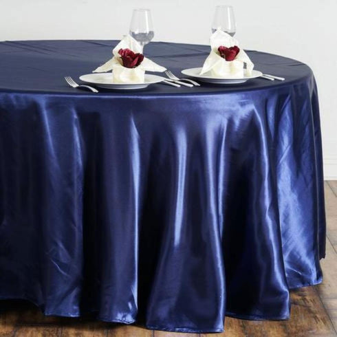 "108"" Satin Round Tablecloth - Navy Blue"