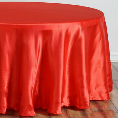 "108"" Satin Round Tablecloth - Red"