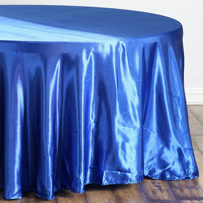 "108"" Royal Blue Satin Round Tablecloth"