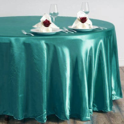 "108"" Satin Round Tablecloth - Turquoise"