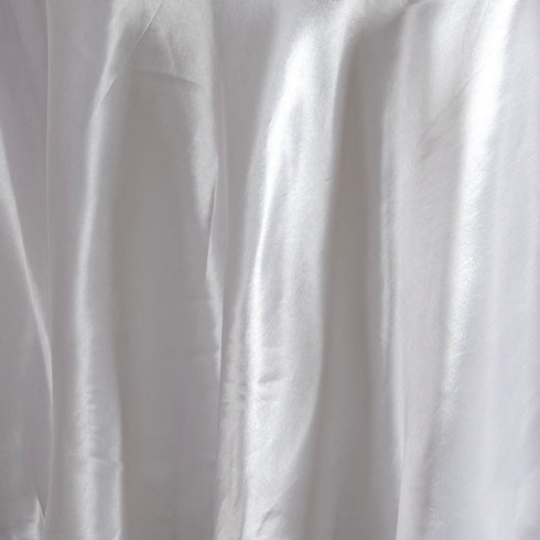 "108"" WHITE Wholesale SATIN Round Tablecloth For Wedding Banquet Restaurant"