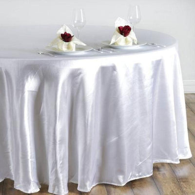 "108"" Satin Round Tablecloth - White"