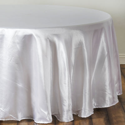"108"" White Satin Round Tablecloth"