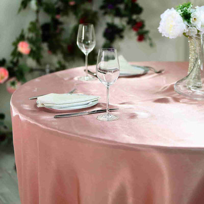 "120"" Dusty Rose Satin Round Tablecloth"