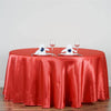 "120"" Coral Red Satin Round Tablecloth"