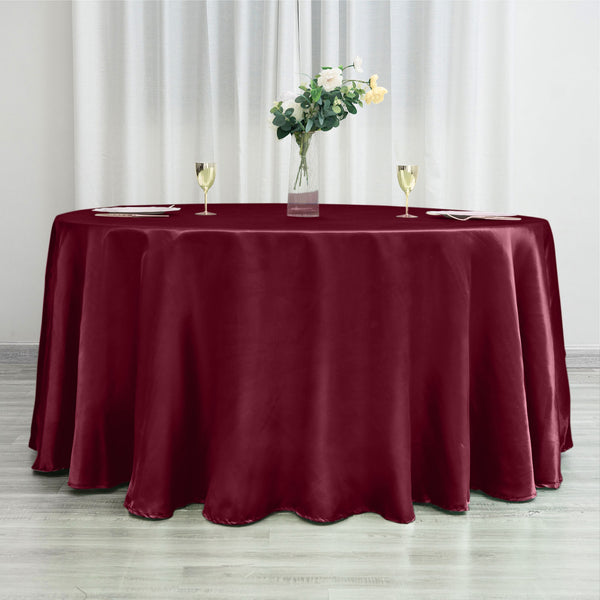 "120"" Burgundy Satin Round Tablecloth"