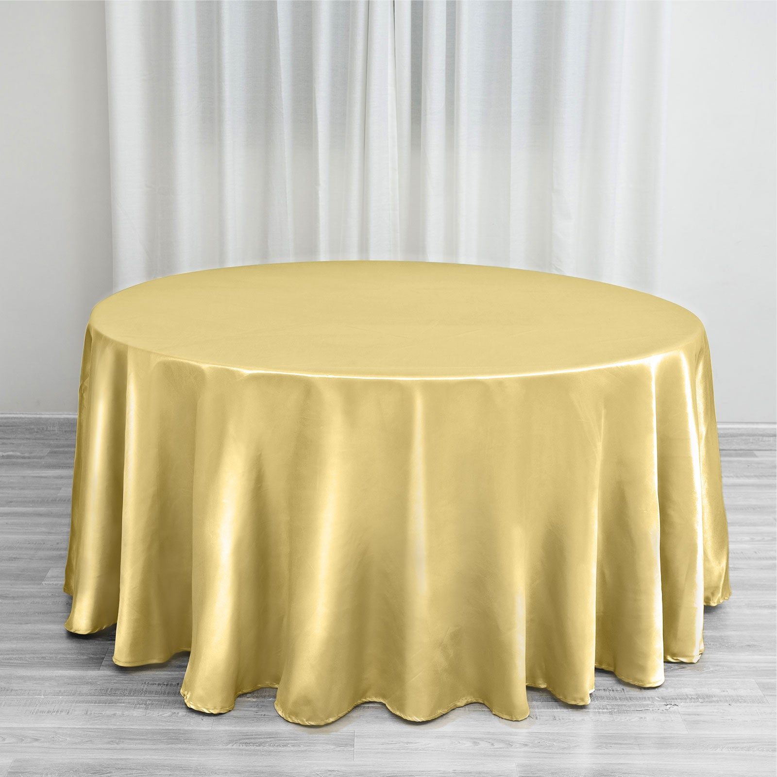 120 Quot Champagne Satin Round Tablecloth Efavormart