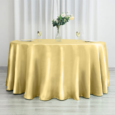"120"" Champagne Satin Round Tablecloth"