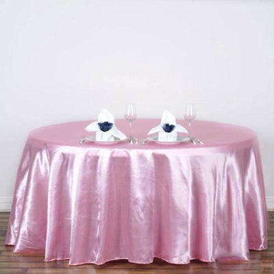 "120"" PINK Wholesale SATIN Round Tablecloth For Wedding Banquet Restaurant"