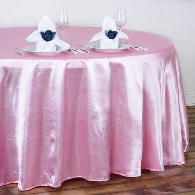 "120"" Pink Satin Round Tablecloth"