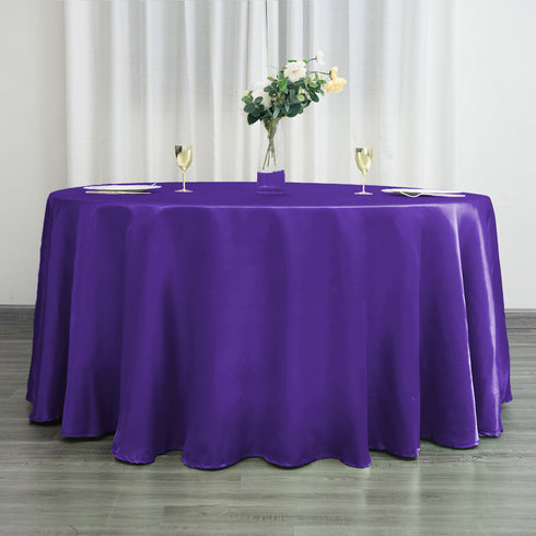 "120"" Purple Satin Round Tablecloth"