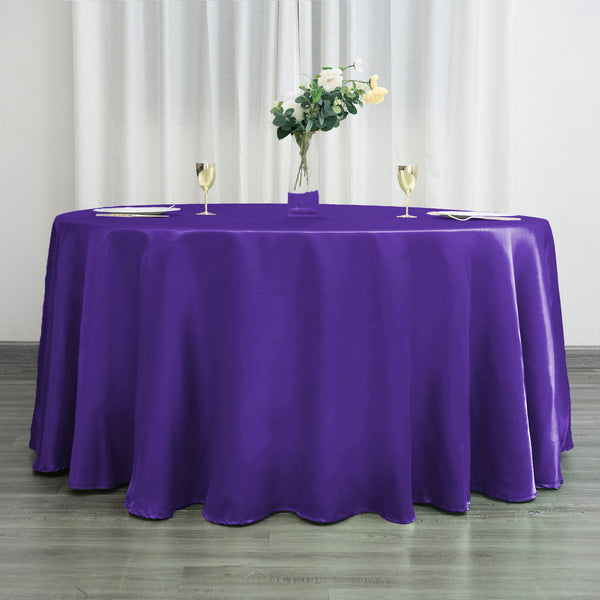 120 Quot Purple Satin Round Tablecloth Efavormart