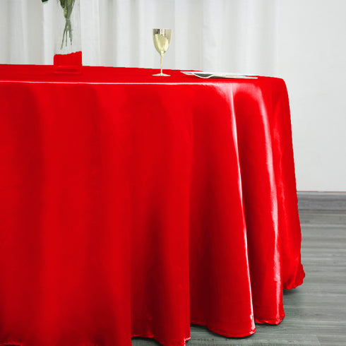 "120"" RED Wholesale SATIN Round Tablecloth For Wedding Banquet Restaurant"