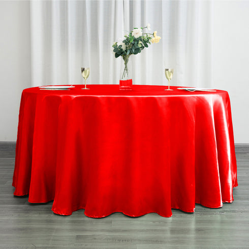 "120"" Red Satin Round Tablecloth"