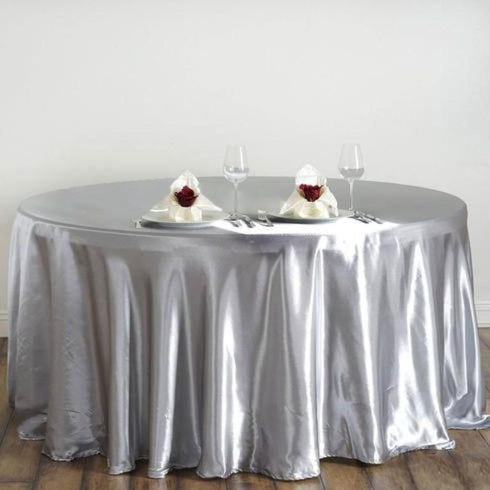 "120"" Silver Satin Round Tablecloth"