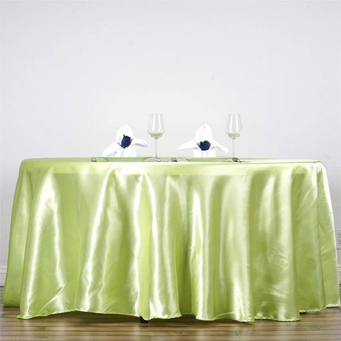 "90"" TEA GREEN Wholesale SATIN Round Tablecloth For Wedding Banquet Restaurant"