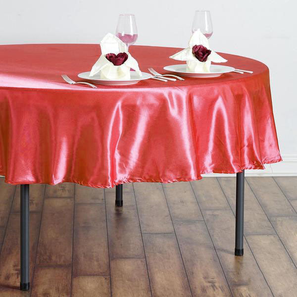 "90"" Coral Satin Round Tablecloth"