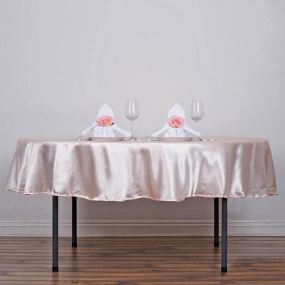 "90""  Satin Round Tablecloth - Rose Gold 